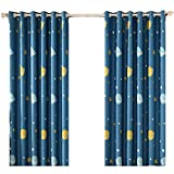 ZWB Astronomical Space Planets Blackout Curtain Stars Anti-Noise Grommet Process Thermal Insulated Panels for Teens Room 1 Panel W52 x L84 Inch