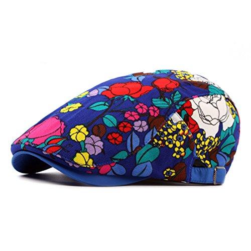 Pigment Dyed Newsboy Cap - Adjustable Floral Newsboy Cap Cotton Flat Cap Ivy Irish Cabbie Caps Hunting Hat - Royal Blue