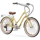 "sixthreezero EVRYjourney Women's 21-Speed Step-Through Hybrid Cruiser Bicycle, Cream w/Brown Seat/Grips, 26"" Wheels/ 17.5"" Frame"