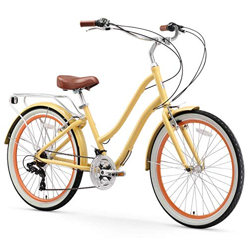 sixthreezero EVRYjourney Women's 21-Speed Step-Through Hybrid Cruiser Bicycle, Cream w/Brown Seat/Grips, 26