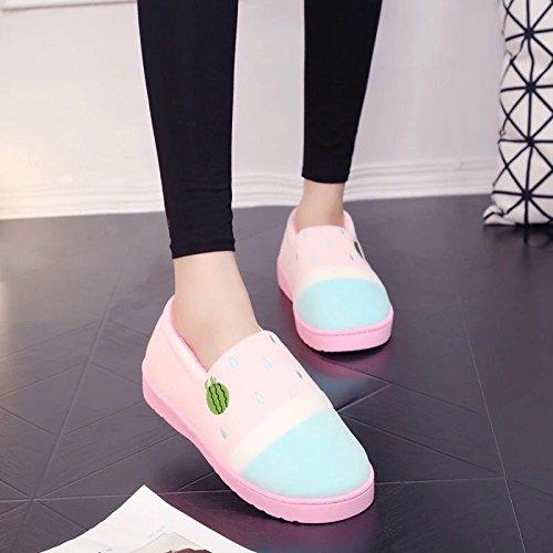 Inverno fankou paio di pantofole di cotone femmina calda interna antiscivolo pacchetto carino a rimanere a casa pantofole uomini e ,39-40, inverno tutti-rosa