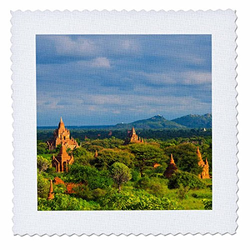 3dRose Danita Delimont - Travel - Landscape of Ancient temples and pagodas, Bagan, Mandalay, Myanmar - 20x20 inch quilt square (qs_276703_8) ()