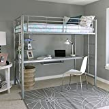 Twin over Workstation Metal Bunk Bed with Ladder, Silver Finish
