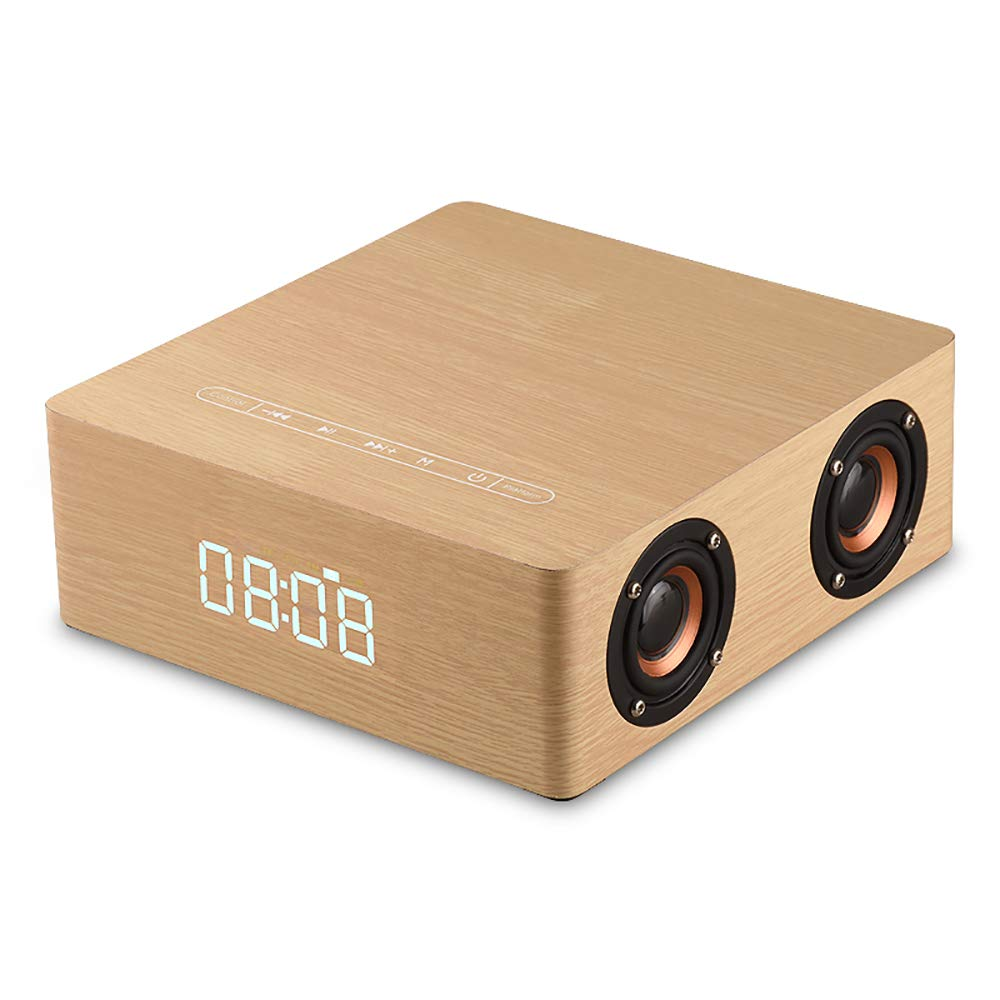 RONSHIN Bluetooth Speakers,Fashion Wood Grain Surround Sound Subwoofer Home Mobile Phone Computer Loudspeakers HiFi Stereo Bass Speaker Yellow Standard by RONSHIN