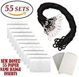 ID Badge Holders & Lanyards, 55 sets, Black Lanyard and Horizontal Name Tags Hole Punched Zipper Waterproof Resealable Clear Plastic Labels Credit Card Holder For Employees Heavy Duty Pair