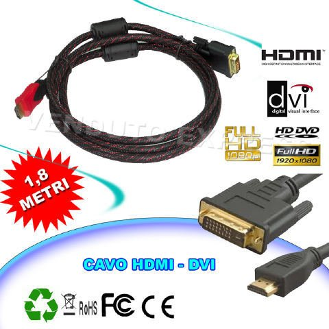Price comparison product image Cable Hdmi-Dvi 1.8 Meters Cable Adapter Converter High Definition Hd 009 123