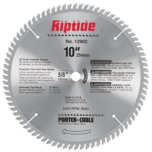 PORTER-CABLE 12902 Riptide 10-Inch 80 Tooth ATB Thin Kerf Crosscutting Miter Saw Blade with 5/8-Inch Arbor