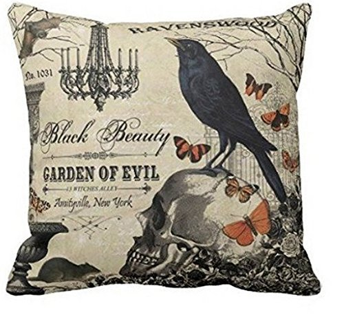 Yqy Accent Pillows for Sofa Modern Vintage Halloween Crow and Skull Pillows Cove Pillow Protector (45cm x 45cm, One Sides) by yqy2016