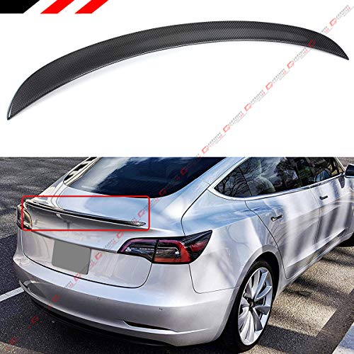 - Cuztom Tuning Fits for 2017-2019 Tesla Model 3 Premium Carbon Fiber VIP Style Rear Trunk Lid Spoiler Wing