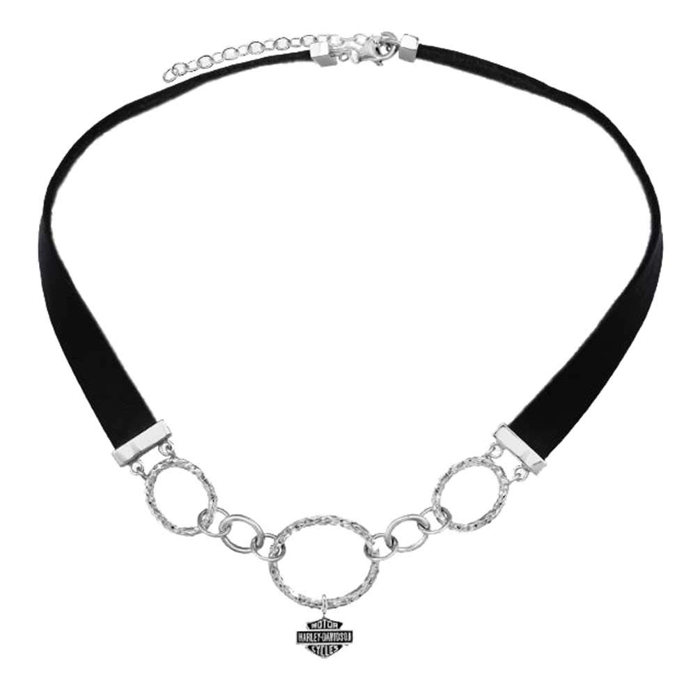 Harley-Davidson Womens Hammered Link & Leather B&S Choker Necklace HDN0419 14 in