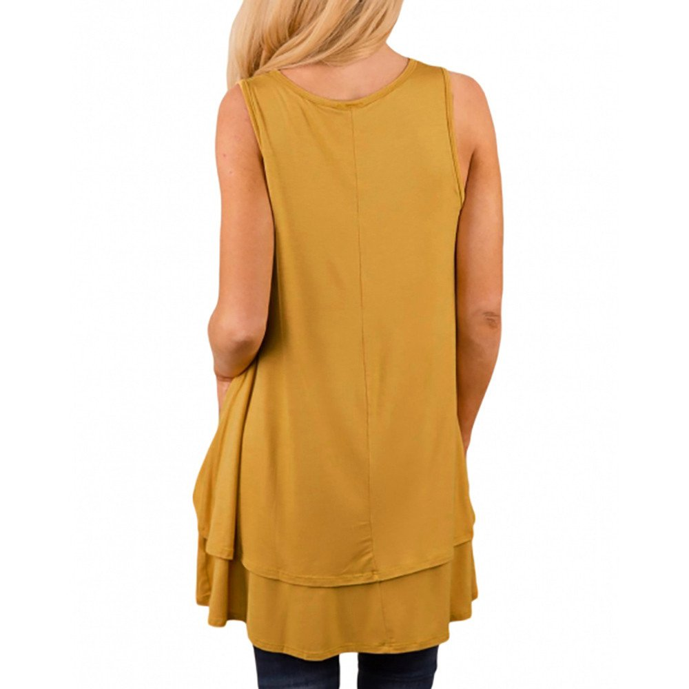 Tank Tops for Women, Kaitobe Womens V-Neck Ruffle Layer Asymmetric Hem Tunic Sleeveless Cami Vest Blouse Tops Yellow by Kaitobe Vest (Image #2)