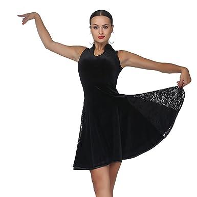 9d82efdd5b8 Women Black Velvet Slim Fashion Lace Splicing U Neck Big Swing Modern Dance  Costumes Spanish Flamenco