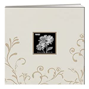 """Pioneer 12"""" X 12"""" Scroll Embroidery Fabric Postbound Memorybook With Window, Ivory"""