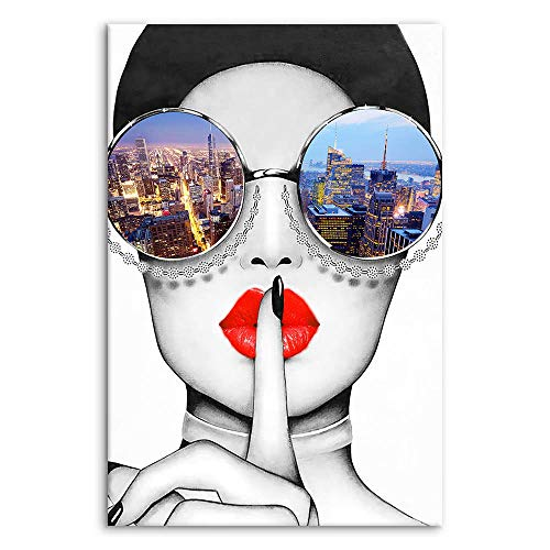 Modern Fashion Women Art Print Contemporary Wall Art Red Lip Canvas Prints Stylish Feminine Framed Wall Art Painting Cityscape Piture Ready to Hang for Home Decoration Multicolor, 24x36inx1
