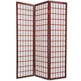 6 ft. Tall Window Pane Shoji Screen - Double Sided 3-Panel (Rosewood) (72''H x 53''W x 1.5''D)