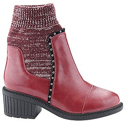 BELLA MARIE ATLANTA-18 Womens Cap Toe Rhinestone Sweater Collar Ankle Bootie, Color:BURGUNDY, Size:6.5