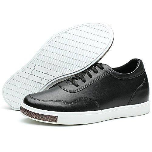 Chamaripa Mens Höjd Ökar Skor Andas Mode Sneaker 2,36 Inches H71c26k177d 177 # Full Läder Svart