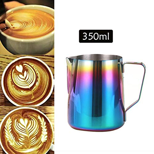 LingStar Milk Frothing Pitcher Stainless Steel Jug Garland Cup Cactus Theme Supplies Birthday Party Supplies for Tea Barista Cappuccino Espresso Machine Coffee Cafe Latte Maker Art 350ml, Colorful