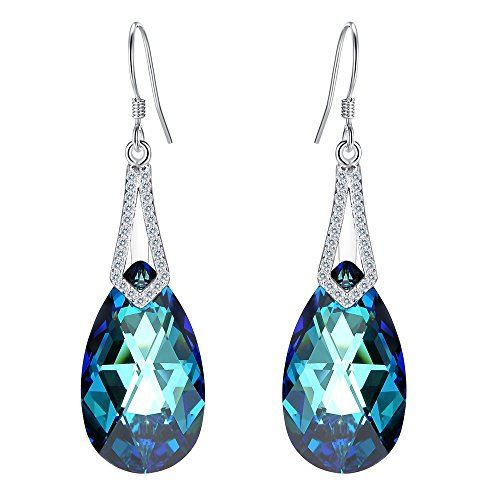EleQueen 925 Sterling Silver CZ Teardrop Bridal Hook Dangle Earrings Bermuda Blue Made with Swarovski Crystals ()