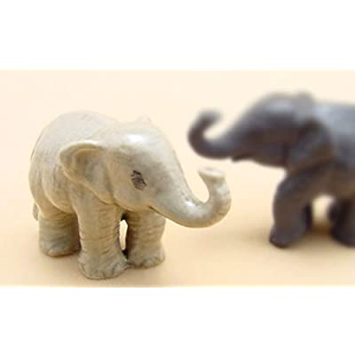 ChangThai Design 3 D Ceramic Toy Baby Young Elephant Dollhouse Miniatures: Toys & Games