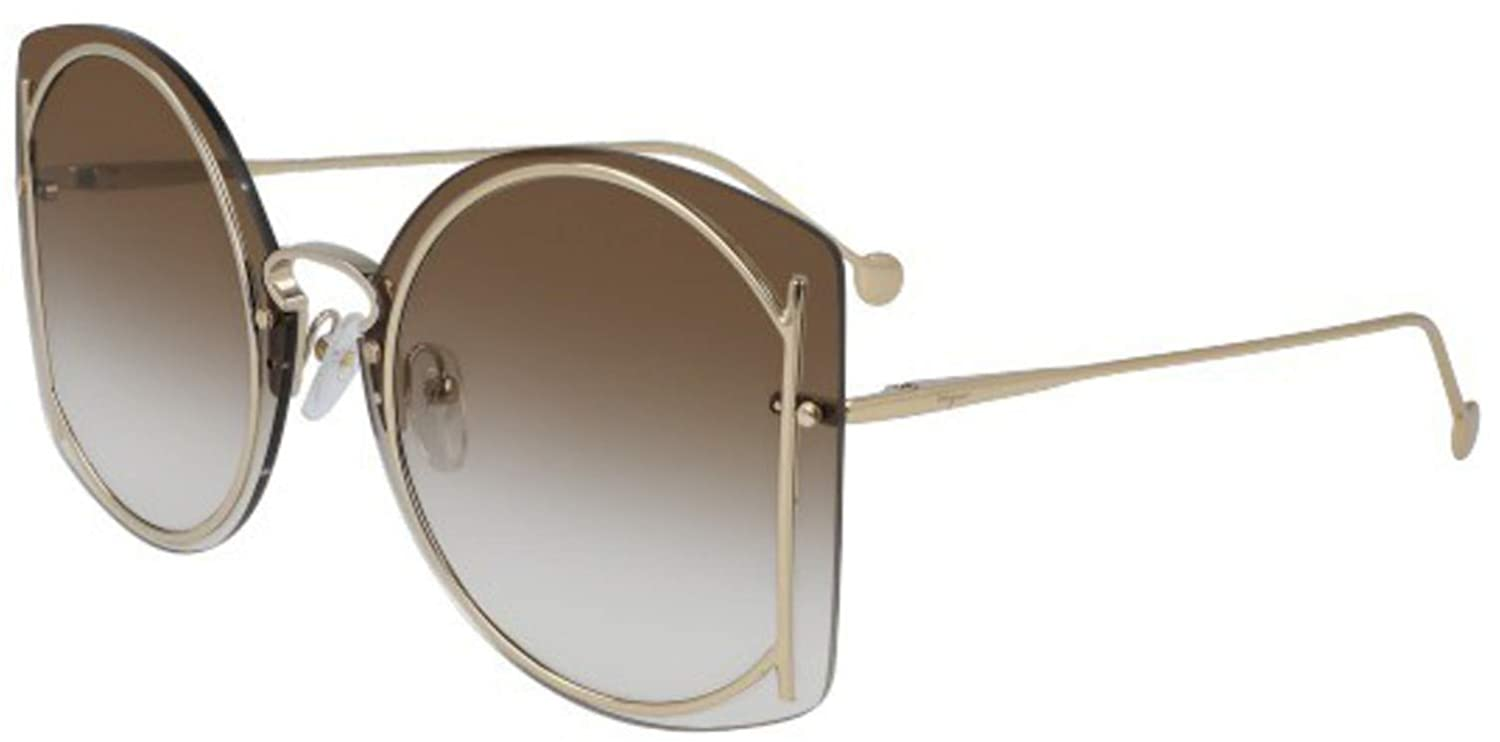Amazon.com: Gafas de sol FERRAGAMO SF 196 S 703 GOLD/BROWN ...