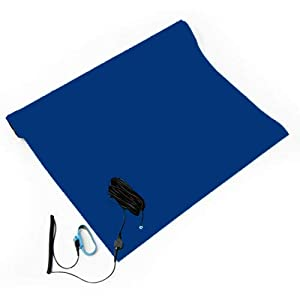 Bertech ESD Soldering Mat Kit, 2 Feet Wide x 4 Feet Long x 0.06 Inches Thick, Blue, Includes a Wrist Strap and Grounding Cord, RoHS and REACH Compliant (Assembled in USA)