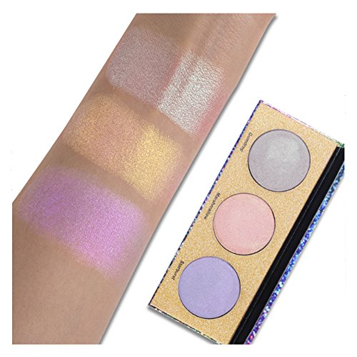 UCANBE 3 Colors Crystal Sugar Glow Palette Highlighter Kit Eyeshadow Blush Face Makeup
