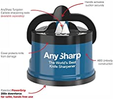 AnySharp Global Knife Sharpener with PowerGrip, Blue