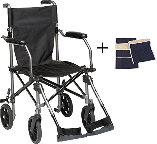 (Transport Wheelchair Lightweight Folding, Lightweight Transport Chair Wheelchair With Brakes, Elevating Legrest, Carry Bag, Sheepskin Armrest Pouch, Travelite Transport Wheelchair Chair in a Bag, 19in)