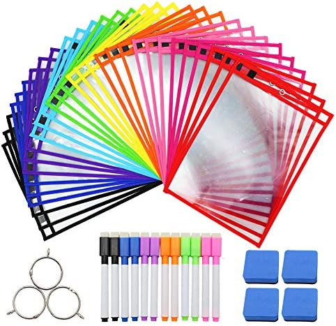"Dry Erase Pockets 30 Pack Dry Erase Sheets Reusable & Oversized 10"" x 13.6""Dry Erase Sheet Plastic Protectors Sleeves with 12 Markers 4 Eraser 3 Metal Rings for Teachers Kids and School Supplies"