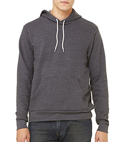 Hooded Pullover Bella (Bella + Canvas Unisex Poly-Cotton Fleece Pullover Hoodie (3719)- Dk Gray Heather,X-Large)