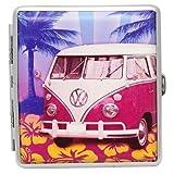 VW Zigarettenetui / Zigarettenbox Aus Aluminium - VW Cambingbus T1 - At The Beach - Ausreichend für 20 Zigaretten