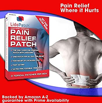 LidoPatch, Back Pain Relief  Lidocaine Patch with Menthol for Most  Efficient Pain Relief, Patch Works for 12