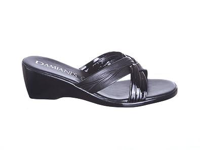 1981374fca Womens Damianis Italian Shoemakers Women's Twist Wedge Sandals (7, black  multi)