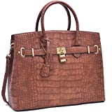MMK Collection Fashion Packlock Handbag(7103) ~ Signature fashion Designer Purse~ Perfect & Women Satchel Purse(7103) (MA-021006 Cognac)