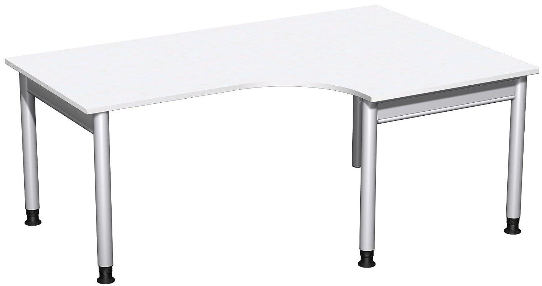 Geramöbel PC-Schreibtisch rechts höhenverstellbar, 1800x1200x680-820, Weiß/Silber