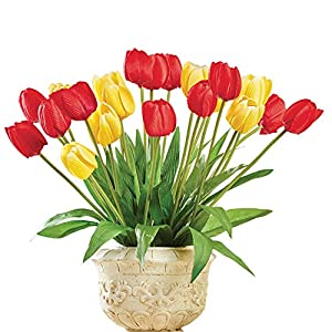 Red & Yellow Tulip Bushes - Set of 3, Arrangement for In Home or Outdoor Décor 7
