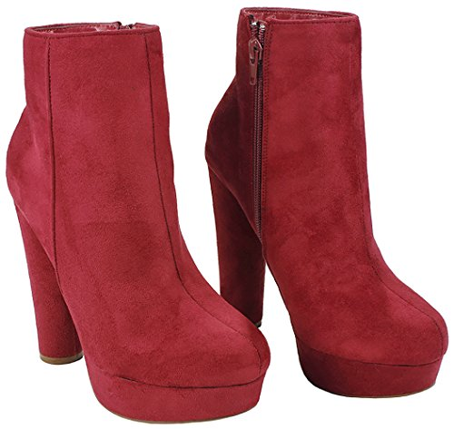 Heel Classic Side Platform Booties Cuff Women Red Suede Faux Chunky Ankle High Zip qazawU