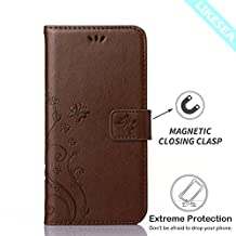 LIKESEA Butterfly Floral Series Leather Wallet Case Flip Cover with Card Slot and Magnetic Closure for Samsung Galaxy Core LTE G386W - Brown