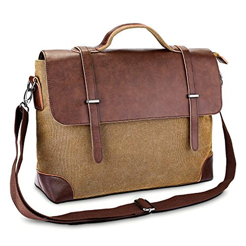 Gutens Mens Messenger Bag 15.6 Inch Vintage Genuine Leather Briefcase Waterproof Waxed Canvas Laptop Computer Bag