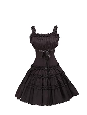 dbf97745b5 Antaina Black Cotton Ruffle Lace Halter Sweet Sexy Gothic Lolita Cosplay  Dress