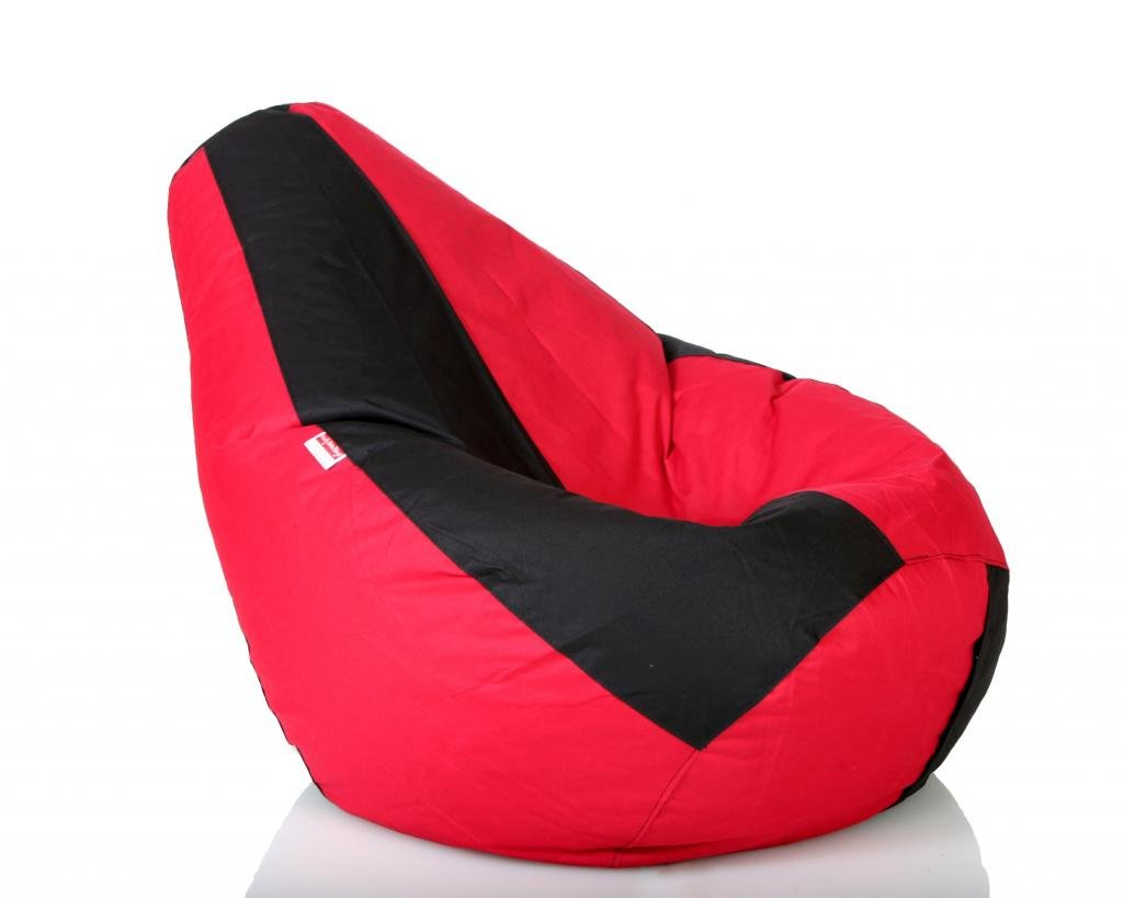 Comfy Bean Bags XXL Bag Filled With Beans Filler Black And Red