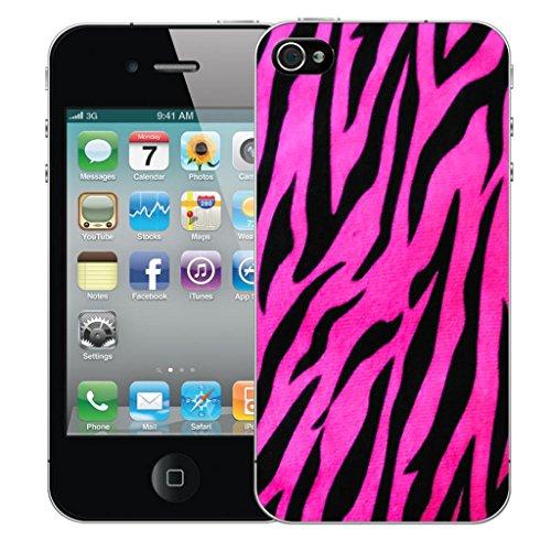 Mobile Case Mate iPhone 4 clip on Dur Coque couverture case cover Pare-chocs - Rose zebra pattern Motif avec Stylet