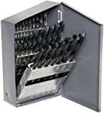 """Chicago Latrobe 150 Series High-Speed Steel Jobber Length Drill Bit Set with Metal Case, Black Oxide Finish, 118 Degree Conventional Point, Inch, 29-piece, 1/16"""" - 1/2"""" in 1/64"""" increments"""