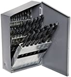 "Chicago Latrobe 150 Series High-Speed Steel Jobber Length Drill Bit Set with Metal Case, Black Oxide Finish, 118 Degree Conventional Point, Inch, 29-piece, 1/16"" - 1/2"" in 1/64"" increments"