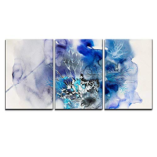 (wall26 - 3 Piece Canvas Wall Art - Abstract Painting of Blue Flowers - Modern Home Decor Stretched and Framed Ready to Hang - 24