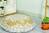 Popular Handicrafts Large Hippie Mandala Floor Pillow-Cushion-Pouf Cover Round Bohemian Yoga Decor Floor Cushion Case- 32'' Gold