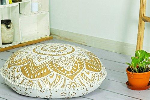 Popular Handicrafts Large Hippie Mandala Floor Pillow-Cushion-Pouf Cover Round Bohemian Yoga Decor Floor Cushion Case- 32'' Gold by Popular Handicrafts