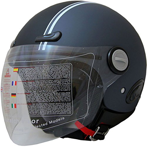 398 Matt (Open Face Motorcycle Scooter Helmet DOT 318 (398_Matt Grey, L))