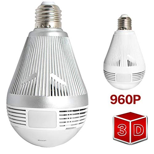 JJINGINS 360 Security WiFi Camera Lamp Panoramic Bulb with IP CCTV Video Surveillance Fisheye Hd Night Vision Two Way Audio (Best Night Vision Camcorder For Ufos)